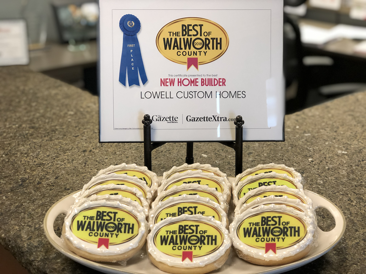 2018 win Lowell Best of Walworth New Home Builder