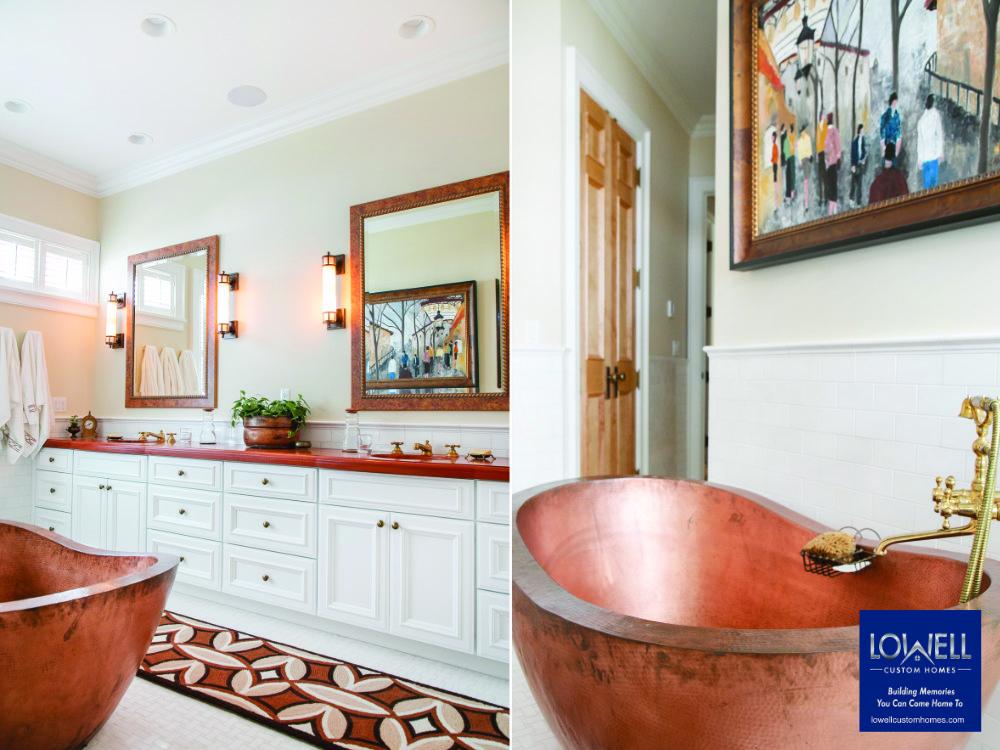 luxury bath luxury copper master bath Lowell Custom Homes