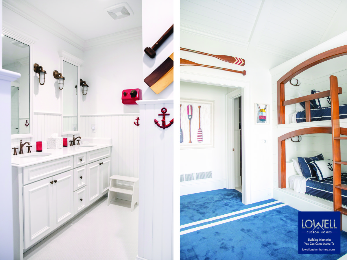 nautical themed guest bunk and bath