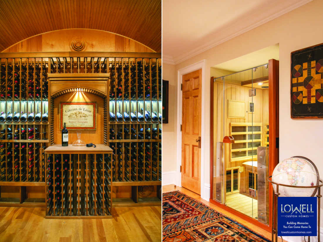 wine cellar and sauna by Lowell Custom Homes