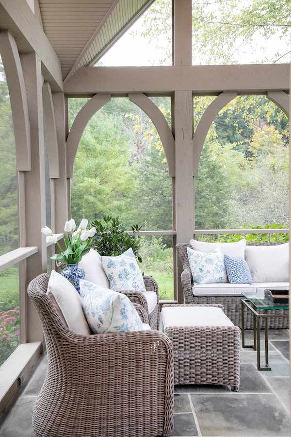 Screened porch outdoor furniture Lowell Custom Homes Lake Geneva WI