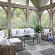 Screened in porch interior Lowell Custom Homes in Lake Geneva WI