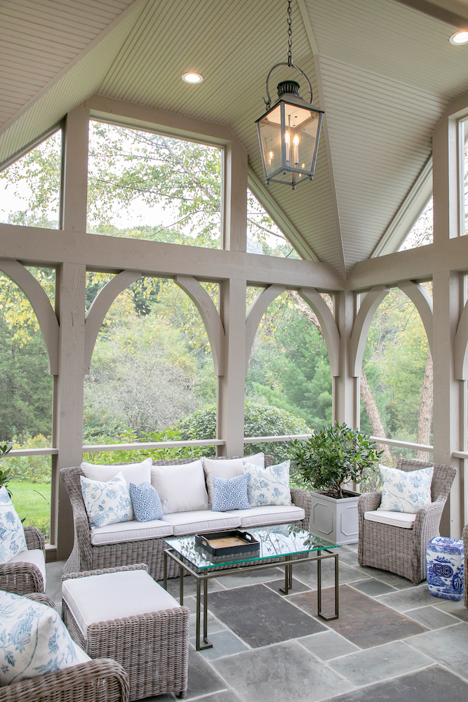 screened porch interior Lowell Custom Homes Lake Geneva WI
